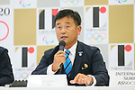 Atsushi Sakai, <br /> AUGUST 7, 2015 : <br /> International Surfing Association (ISA) <br /> holds a media conference following its interview <br /> with the Tokyo 2020 Organising Committee in Tokyo Japan. <br /> (Photo by YUTAKA/AFLO SPORT)