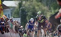 decisive moment in full finale up the infamous Mur de Huy: Alejandro Valverde (ESP/Movistar) distances himself from Julian Alaphilippe (FRA/Etixx-QuickStep) &amp; Daniel Martin (IRL/Etixx-Quickstep)<br /> <br /> Fl&egrave;che Wallonne 2016