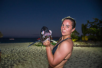 Namotu Island Resort, Nadi, Fiji (Thursday, May 25 2017): Tyler Wirght (AUS) with Pomfrey Deep Sea Fish - The wind had dropped back this morning and swung back to very light sea breeze. The swell had dropped again and was virtually flat out the front. A crew went to Despos or went fishing. Tyler Wright (AUS) caught one of the biggest Pomfrey's caught on the island. Photo: joliphotos.com