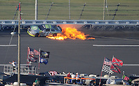 Oct 3, 2008; Talladega, AL, USA; ARCA RE/MAX Series driver Justin Marks drives in a ball of fire after crashing during the Remax 250 at Talladega Superspeedway. Mandatory Credit: Mark J. Rebilas-