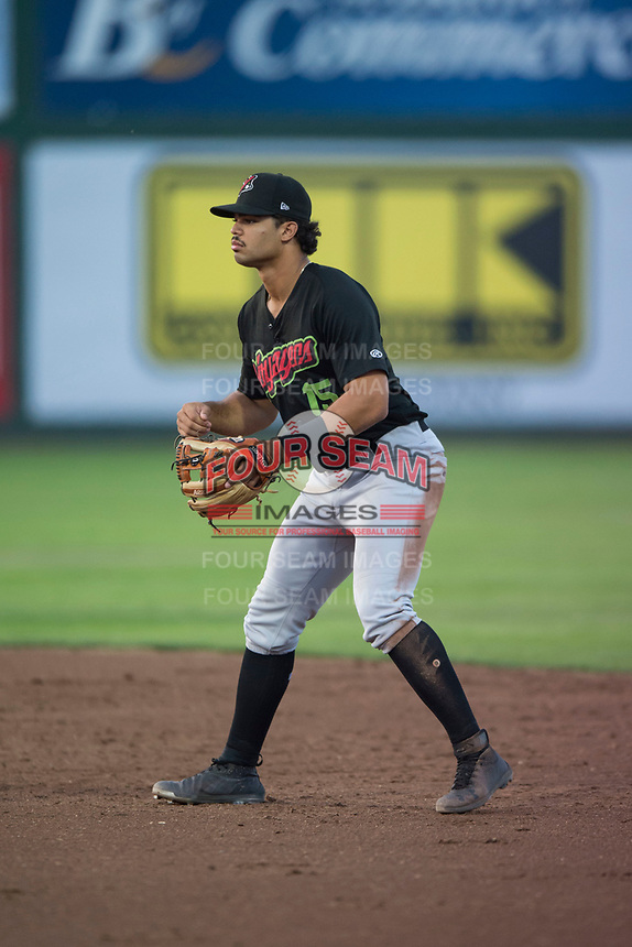Great Falls Voyagers second baseman Amado Nunez (15) during a Pioneer League game against the Idaho Falls Chukars at Melaleuca Field on August 18, 2018 in Idaho Falls, Idaho. The Idaho Falls Chukars defeated the Great Falls Voyagers by a score of 6-5. (Zachary Lucy/Four Seam Images)