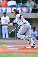 Pulaski Yankees first baseman Matthew Duran (50) swings at a pitch during a game against the Greeneville Astros on July 11, 2015 in Greeneville, Tennessee. The Yankees defeated the Astros 9-3. (Tony Farlow/Four Seam Images)