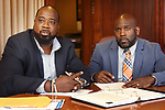 WATERBURY CT. 07 Augusr 2017-080717SV01-From left, Marcus Stallworth and Anthony Gay of Welcome 2 Reality work in their office in Waterbury Monday. <br /> Steven Valenti Republican-American