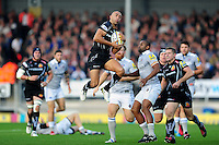Olly Woodburn of Exeter Chiefs claims the ball in the air. Aviva Premiership match, between Exeter Chiefs and Bath Rugby on October 30, 2016 at Sandy Park in Exeter, England. Photo by: Patrick Khachfe / Onside Images