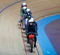 26th January 2020; National Cycling Centre, Manchester, Lancashire, England; HSBC British Cycling Track Championships; Men's keirin final lead out with the derny bike