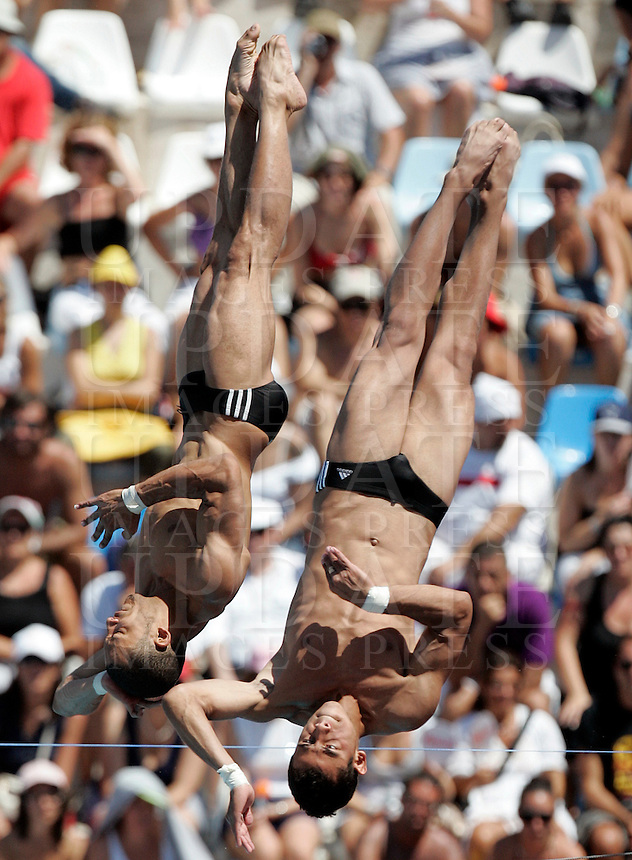 United States' David Boudia and Thomas Finchum compete in the men 10m synchro platform diving finals at the Swimming World Championships in Rome, 25 July 2009..UPDATE IMAGES PRESS/Riccardo De Luca