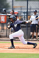 GCL Yankees 2 second baseman Junior Valera (92) at bat during a game against the GCL Braves on June 23, 2014 at the Yankees Minor League Complex in Tampa, Florida.  GCL Yankees 2 defeated the GCL Braves 12-4.  (Mike Janes/Four Seam Images)