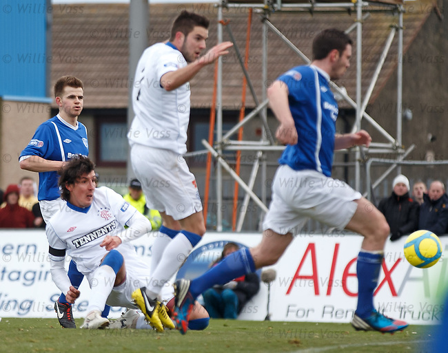Fran Sandaza scores the only goal of the game to rescue three points on Rangers return to Peterhead