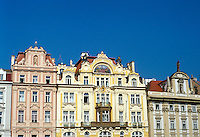 Old Town Square (Staromestke namesti). Baroque facades. 1030914 architecture. Prague Bohemia Czech Republic.