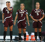 07 September 2007: Texas A&M's Nicole Ketchum (8), Rachel Shipley (7), and Laura Grace Robinson (5). The University of North Carolina Tar Heels defeated the Texas A&M University Aggies 2-1 at Fetzer Field in Chapel Hill, North Carolina in an NCAA Division I Women's Soccer game, and part of the annual Nike Carolina Classic tournament.