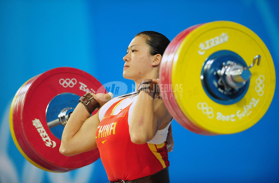Aug. 15, 2008; Beijing, CHINA; Cao Lei (CHN) in the clean & jerk competition of the womens weightlifting 75kg at BUAA Gymnasium 2008 Beijing Olympic Games. Mandatory Credit: Mark J. Rebilas-