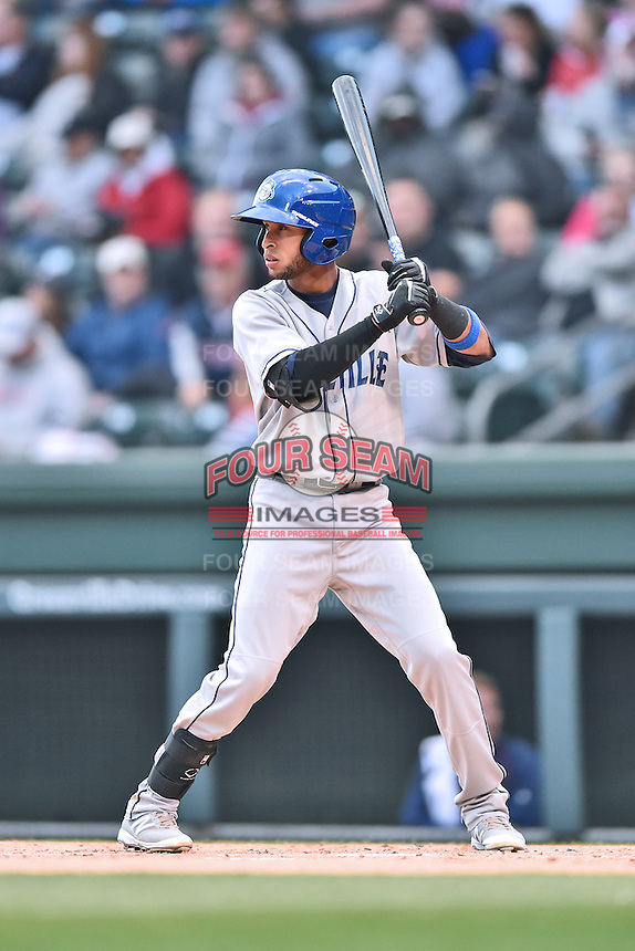 Asheville Tourists second baseman Carlos Herrera (4) awaits a pitch during a game against the Greenville Drive at Fluor Field on April 7, 2016 in Greenville South Carolina. The Drive defeated the Tourists 4-3. (Tony Farlow/Four Seam Images)