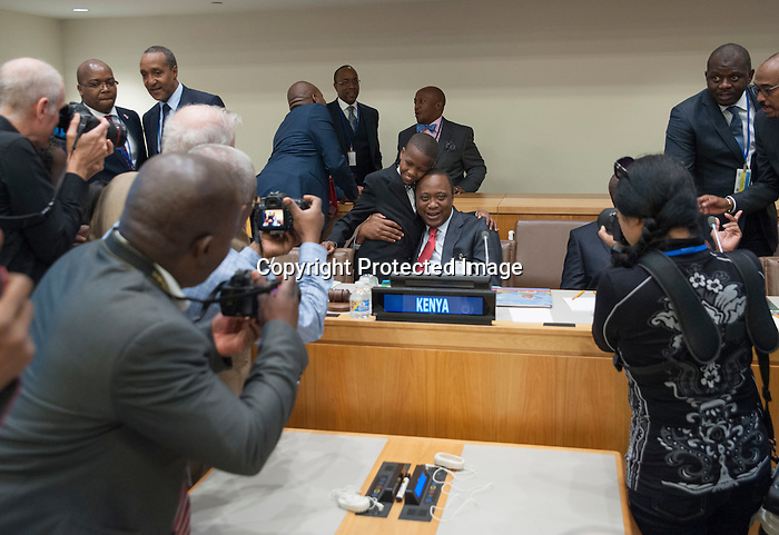 Event on ending the AIDS epidemic by 2030—shaping new models and means of implementation<br /> <br /> Speakers:<br /> <br /> HE Uhuru Kenyatta, President of Kenya, co-host   <br /> HE Peter Mutharika, President of Malawi, co-host<br /> HE Ibrahim Boubacar Keïta, President of Mali <br /> HE Timothy Harris, Prime Minister of St Kitts and Nevis <br /> Michel Sidibé, Executive Director of UNAIDS<br /> Ms Heather Higginbottom, Deputy Secretary of State for Management and Resources of US <br /> Ms Charlize Theron, Messenger of Peace for the United Nations and founder of CTAOP <br /> Ms Karen Dunaway, Civil Society Representative