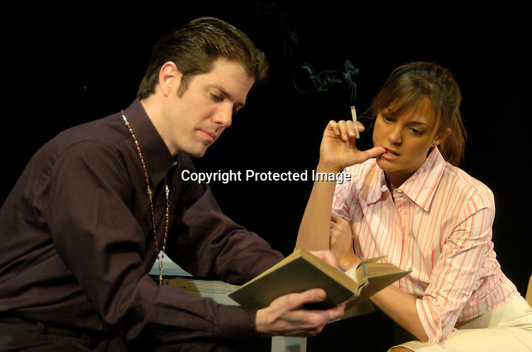 "Gilberto Arribas and Eva La Rue performing ..in ""The Women of Nine""  a trilogy of plays performed at ..Teatro LaTea in New York City. This was the dress rehearsal on March 24, 2004. The show will run March 24,..April 2, and April 4, 2004...Photo by Robin Platzer, Twin Images"