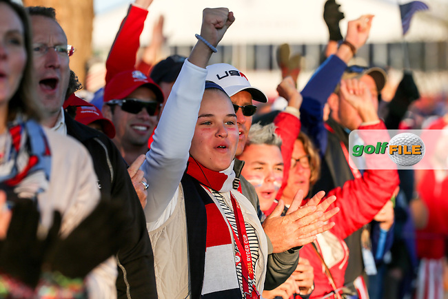 Huge gallery down the first hole during the Saturday Morning Foursomes, at the 41st Ryder Cup 2016, at Hazeltine National Golf Club, Minnesota, USA.  01View of the 10th2016. Picture: David Lloyd   Golffile.