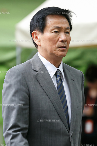 Chiba Governor Kensaku Morita visits Yasukuni Shrine to pay his respects to the war dead on the 72nd anniversary of Japan's surrender in World War II on August 15, 2017, Tokyo, Japan. Prime Minister Shinzo Abe was not among the lawmakers to visit the Shrine and instead sent a ritual offering to avoid angering neighboring countries who also associate Yasukuni with war criminals and Japan's imperial past. (Photo by Rodrigo Reyes Marin/AFLO)
