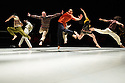 Ipswich, UK. 15.02.2014. Luca Silvestrini's PROTEIN present BORDER TALES at Dance East, Jerwood DanceHouse. Picture shows:  Eryck Brahmania, Femi Oyewole, Stuart Waters, Stephen Moynihan, Kenny Wing Tao Ho, YuYu Rau and Salah el Brogy. Photograph © Jane Hobson.