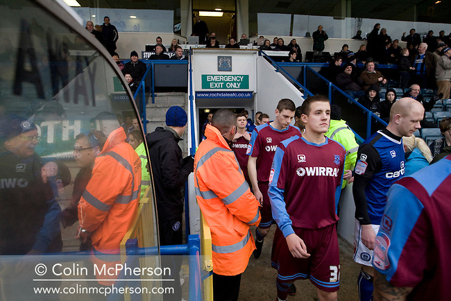Tranmere Rovers defender Scott Wootton walking on to the pitch at Spotland Stadium, before the team's Npower League 1 fixture away to Rochdale. It was the first league fixture between the teams since March 1989. Rochdale won this latest encounter by three goals to two watched by a crowd of 5,500.