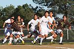 Palos Verdes, CA 02/09/12 - Hee Chang Yang (Peninsula #32), Kyle Perebowow (Peninsula #25) and Nobu Nakagawa (Peninsula #18) in action during the West vs Peninsula Bay League boys varsity soccer game.