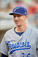 Pensacola Blue Wahoos pitcher Wyatt Strahan (36) before a game against the Birmingham Barons on May 8, 2018 at Regions Field in Birmingham, Alabama.  Birmingham defeated Pensacola 5-2.  (Mike Janes/Four Seam Images)