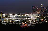 07/26/11 Los Angeles, CA: Night View of Dodger Stadium with Downtown Los Angeles in the background from atop Elysian Park during the Colorado Rockies at Los Angeles Dodgers baseball game