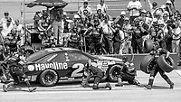 #28 Ford Thunderbird driven by Davey Allison and Bobby Hillin, makes a pitstop during the DieHard 500, NASCAR Winston Cup race, Talladega Superspeedway, July 26, 1992.  (Photo by Brian Cleary/bcpix.com)