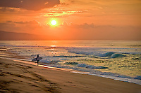 At sunset, a surfer walks the shore of Sunset Beach, North Shore, O'ahu.