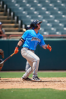 Akron RubberDucks Logan Ice (9) at bat during an Eastern League game against the Bowie Baysox on May 30, 2019 at Prince George's Stadium in Bowie, Maryland.  Akron defeated Bowie 9-5.  (Mike Janes/Four Seam Images)