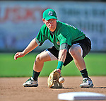 29 June 2012: Vermont Lake Monsters' infielder Jacob Tanis takes drills prior to a game against the Lowell Spinners at Centennial Field in Burlington, Vermont. Mandatory Credit: Ed Wolfstein Photo