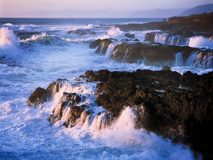 Storm waves crashing on Pacific Rocks, Mendocino California