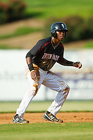 Tim Anderson (2) of the Kannapolis Intimidators takes his lead off of second base against the Rome Braves at CMC-Northeast Stadium on August 25, 2013 in Kannapolis, North Carolina.  The Intimidators defeated the Braves 9-0.  (Brian Westerholt/Four Seam Images)