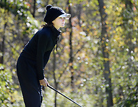 Waunakee's Aly Kinzel watches her shot on No. 10 during the Wisconsin WIAA state girls high school golf tournament on Monday, 10/14/19 at University Ridge Golf Course