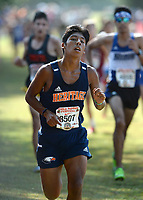 NWA Democrat-Gazette/ANDY SHUPE<br /> Heritage's Orlando Viveros nears the finish line Saturday, Oct. 5, 2019, during the Chile Pepper Cross Country Festival at Agri Park in Fayetteville. Visit nwadg.com/photos to see more photographs from the races.