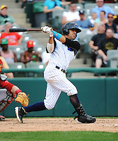 Trenton Thunder infielder Reegie Corona (7) during game against the Portland Sea Dogs at ARM & HAMMER Park on June 23, 2013 in Trenton, NJ.  Portland defeated Trenton 11-0.  (Tomasso DeRosa/Four Seam Images)