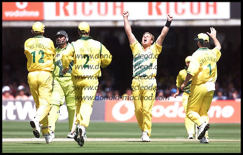 Shane Warne celebrates the wicket of Inzamam ul Haq, one of his four... 1999 Cricket World Cup, Pakistan V Australia at Lords.... Pic Donald MacLeod
