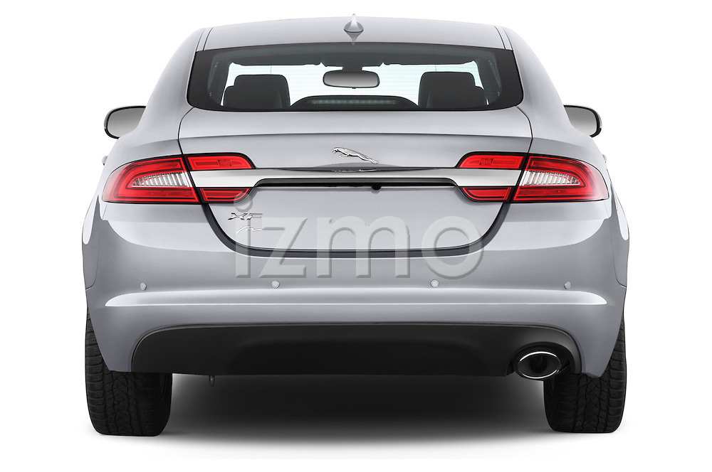 Straight rear view of a 2015 Jaguar XF 2.2D 163 auto 4 Door Sedan 2WD Rear View  stock images