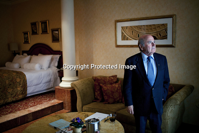 JOHANNESBURG, SOUTH AFRICA - FEBRUARY 10: FIFA president Sepp Blatter photographed during a break between press meetings with journalists on February 10, 2013 at Michelangelo hotel in Sandton, Johannesburg, South Africa. Mr. Blatter visited South Africa to watch the final game of the CAP, Africa's Cup of Nations between Nigeria and Burkina Faso. (Photo by Per-Anders Pettersson)