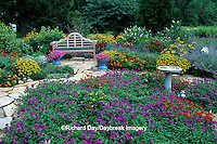 63822-00610 Bird Bath, Bird Houses, Frog gazing ball, & Bench in Bird & Butterfly flower garden  Marion Co.