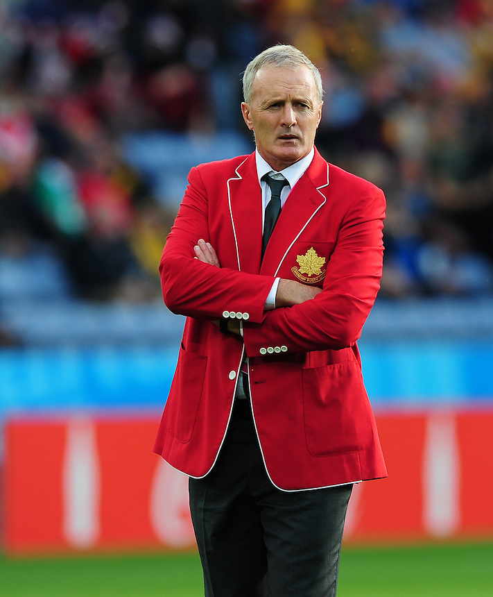 Canada's Head Coach Kieran Crowley during the pre match warm up<br /> <br /> Photographer Chris Vaughan/CameraSport<br /> <br /> Rugby Union - 2015 Rugby World Cup Pool D - Canada v Romania - Tue 6 October 2015 - King Power Stadium, Leicester <br /> <br /> &copy; CameraSport - 43 Linden Ave. Countesthorpe. Leicester. England. LE8 5PG - Tel: +44 (0) 116 277 4147 - admin@camerasport.com - www.camerasport.com