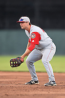 Lowell Spinners first baseman Sam Travis (40) during a game against the Batavia Muckdogs on July 16, 2014 at Dwyer Stadium in Batavia, New York.  Lowell defeated Batavia 6-4.  (Mike Janes/Four Seam Images)