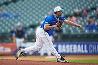 Duke Blue Devils relief pitcher Kevin Lewallyn (40) follows through on his delivery against the Florida State Seminoles in the first semifinal of the 2017 ACC Baseball Championship at Louisville Slugger Field on May 27, 2017 in Louisville, Kentucky. The Seminoles defeated the Blue Devils 5-1. (Brian Westerholt/Four Seam Images)