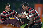 Taiasina Tuifua runs into the tackle of Jamie Mackintosh. ITM Cup Round 4 and Ranfurly Shield rugby game between Counties Manukau Steelers and Southland, played at Rugby Park Invercargill, on Friday July 29th 2011..Southland won the game 22 - 14 after leading 13 - 6 at halftime.