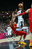 12.08.2012. London, England. Kevin Durant is doubled marked in the Mens Basketball Gold Medal Match between USA and Spain London 2012 Olympic Games USA won the game by a score of 107-100 and took the gold medal