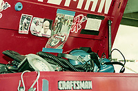 Stirling Marlin's crew's tool box, Winston 500, Talladega Superspeedway, Talladega, Alabama, May 1992.(Photo by Brian Cleary/bcpix.com)