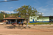 Pará State, Brazil. São Félix do Xingu. Horse cart parking at the bus station.