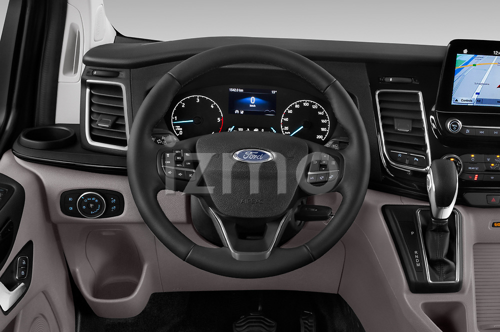 Car pictures of steering wheel view of a 2018 Ford Tourneo Custom Sport 5 Door Passenger Van