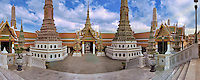 Wat Phra Kaew,  Royal Grand Palace, Bangkok, Thailand, Panorama CGI Backgrounds, ,Beautiful Background