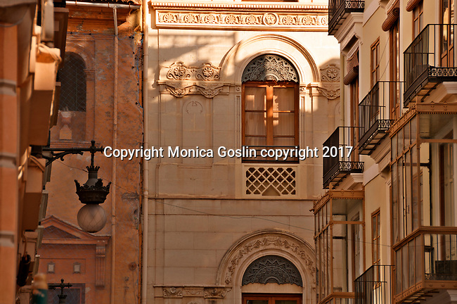 Architecture in Valencia, Spain; looking at windows and balconies
