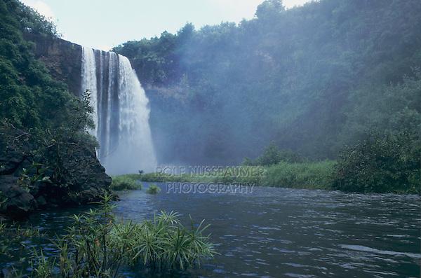 Wailua Falls and Wailua River, Kauai, Hawaii, USA, August 1996