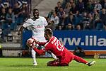12.10.2018, Stadion an der Bremen Bruecke, Osnabrueck, GER, FSP, 1.FBL, VfL Osnabrueck vs Werder Bremen<br /> <br /> DFL REGULATIONS PROHIBIT ANY USE OF PHOTOGRAPHS AS IMAGE SEQUENCES AND/OR QUASI-VIDEO.<br /> <br /> im Bild / picture shows<br /> Jonah Osabutey (Werder Bremen #54) vor Philipp Kühn / Kuehn (VfL Osnabrueck #22), <br /> <br /> Foto © nordphoto / Ewert